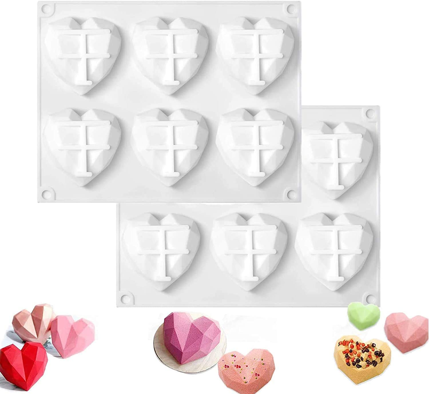 2 Pack Diamond Heart Silicone Mold,Valentine's Day Felt Heart Ornaments Hanging Heart Shaped Cutouts Embellishments with String Loop for Valentine's Day