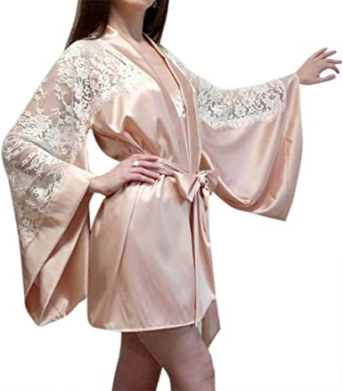 Rhfemd Women Long Batwing Sleeves Lingerie Night Robe Silk Sheer Lace Patchwork Nightgown Bowknot Sash Sleepwear At Amazon Women S Clothing Store
