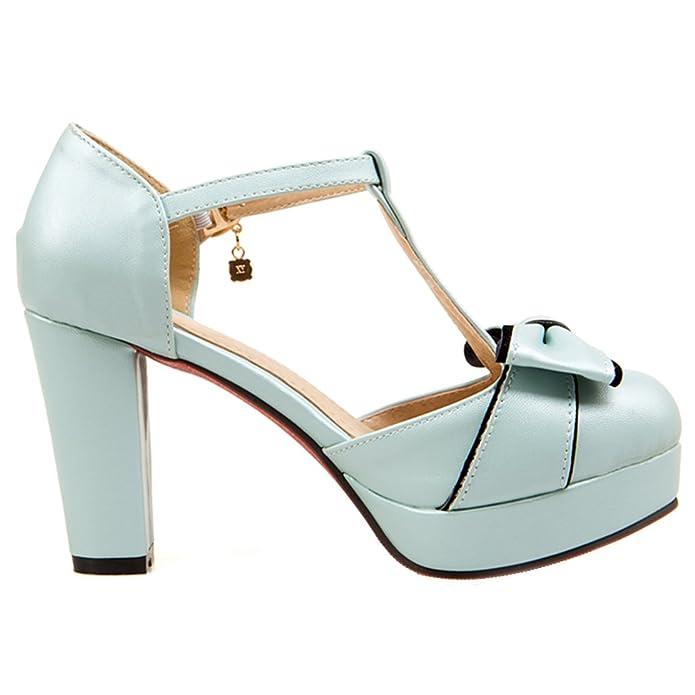 AIYOUMEI Damen T-spange Blockabsatz knöchelriemchen Pumps mit Schleife  Bequem Süß Schuhe: Amazon.de: Schuhe & Handtaschen