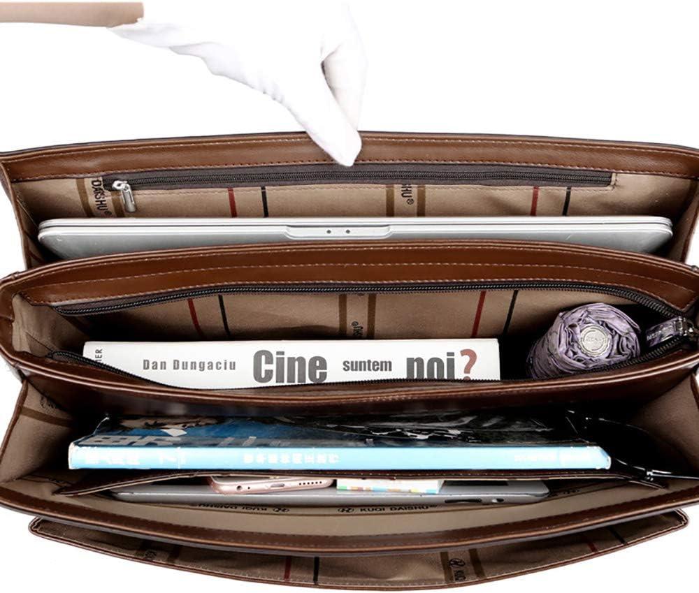 MIJNUX Business Mens Bag Mens Executive Briefcase Black Combination Mens Handbag Synthetic Leather Handbag File Case