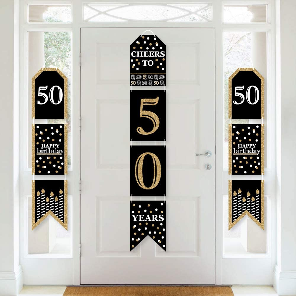 Big Dot of Happiness Adult 50th Birthday - Gold - Hanging Vertical Paper Door Banners - Birthday Party Wall Decoration Kit - Indoor Door Decor