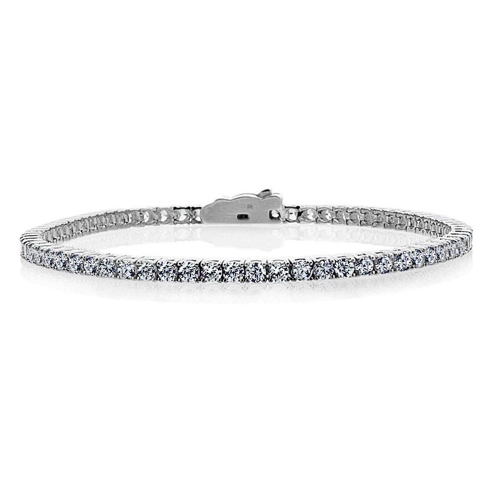 Double Accent 14K White Gold 3mm Round CZ Prong Set Tennis Bracelet (Available 7 & 7.5 Inches), 7.5