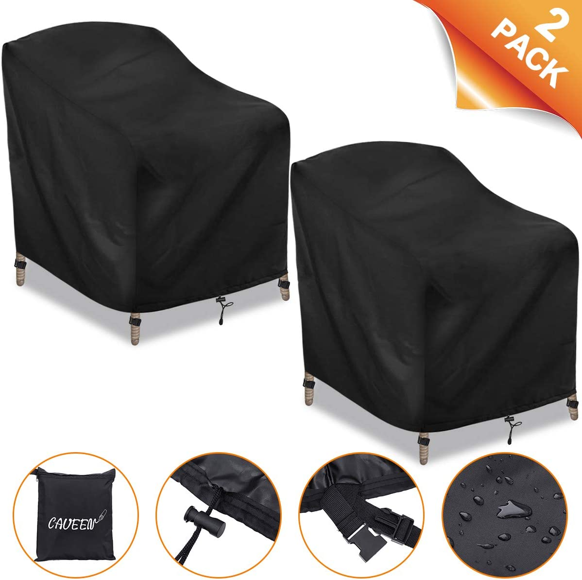 CAVEEN Patio Chair Covers, Outdoor Stackable-Chair Patio Furniture Cover, Waterproof Deep Seat Lounge Chair Cover, High Back 600D Oxford Patio Chair Cover Black Large 2 Pack