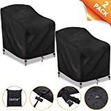 "CAVEEN Patio Chair Covers, Waterproof Lounge Deep Seat Cover, 420D Heavy Duty Oxford Fabric Outdoor Patio Furniture Cover Stackable with Durable Double Stitching, 35"" L x 38""W x 29""H, 2 Packs, Black"