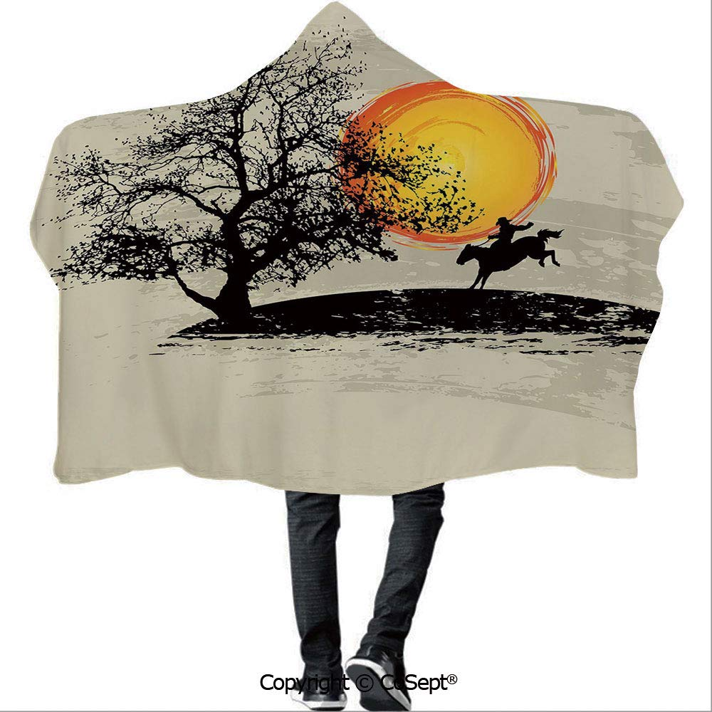 AmaUncle Hooded Blankets,Artistic Painting Style Composition Setting Sun Lonely Tree Country,Unisex All Ages One Size Fits All(59.05x78.74 inch),Light Grey Black Yellow