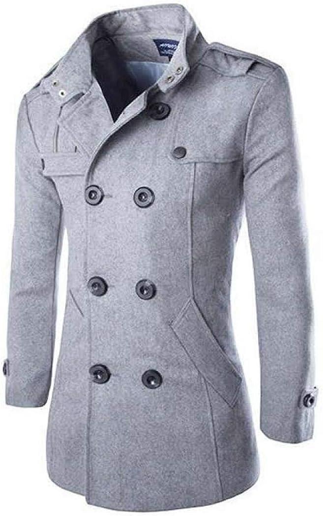 kiss me Mens Casual Trench Coat Long Jacket Slim Fit Long Sleeve Lightweight Jacket Parka Warm Pea Coat