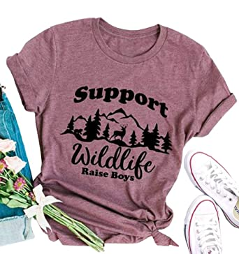 31a7a5f9ef37 MOMOER Boy Mom Shirt for Women Support Wildlife Raise Boys Funny Graphic  Tshirt Mothers Day Mama Short Sleeve Tops Tees