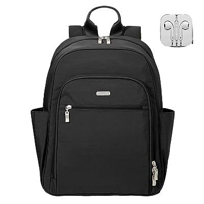 Baggallini RFID Essential 15 Inch Laptop Backpack Bundle with Complimentary Travel Earphones (Black)