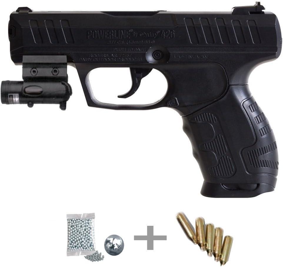 KIT Daisy 426 LÁSER - Pistola de aire comprimido (CO2) y balines de acero (perdigones BBS) calibre 4.5mm + accesorios <3,5J