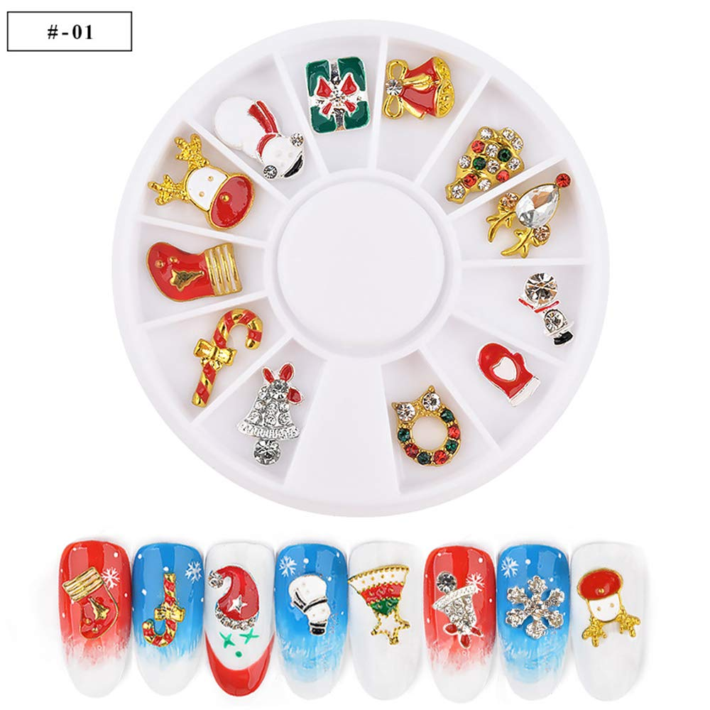 12 Shapes 3D Metal Christmas Nail Art Decoration Slice Alloy Jewelry Glitter Rhinestones Nail Stickers Decal Foil Wheel DIY Tools Manicure (03) Mezerdoo