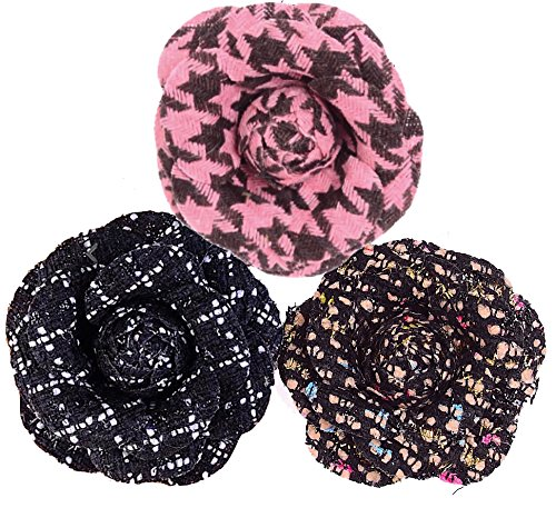 Misasha Women's Tweed Camellia Flower Pins Brooches Set with Organza Gift