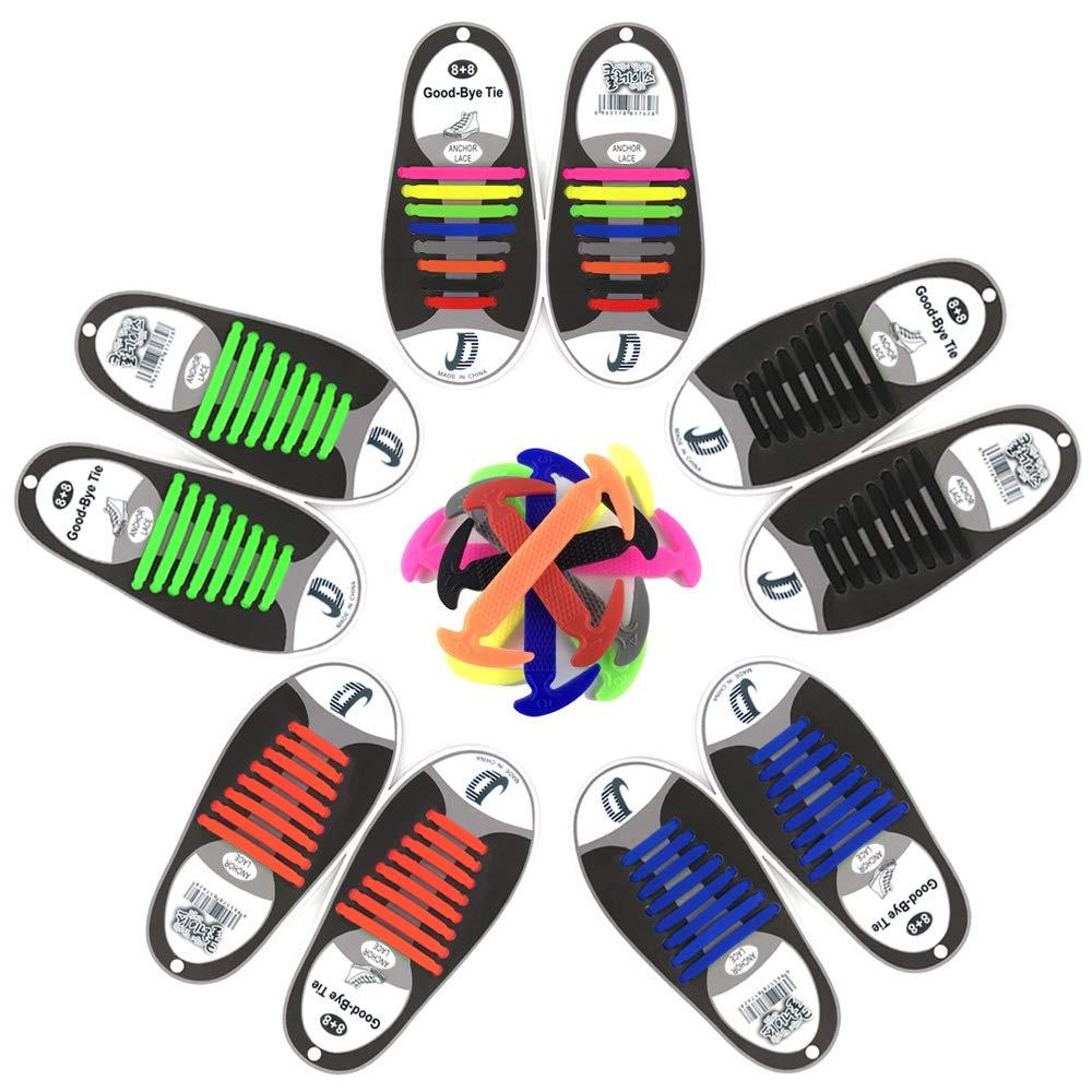 Cordones de Silicona , No Hay Necesidad de Atar, sin corbata Cordones de zapatos para niños y adultos, Cordones Zapatos Elasticos Dierlin Cordones de Silicona