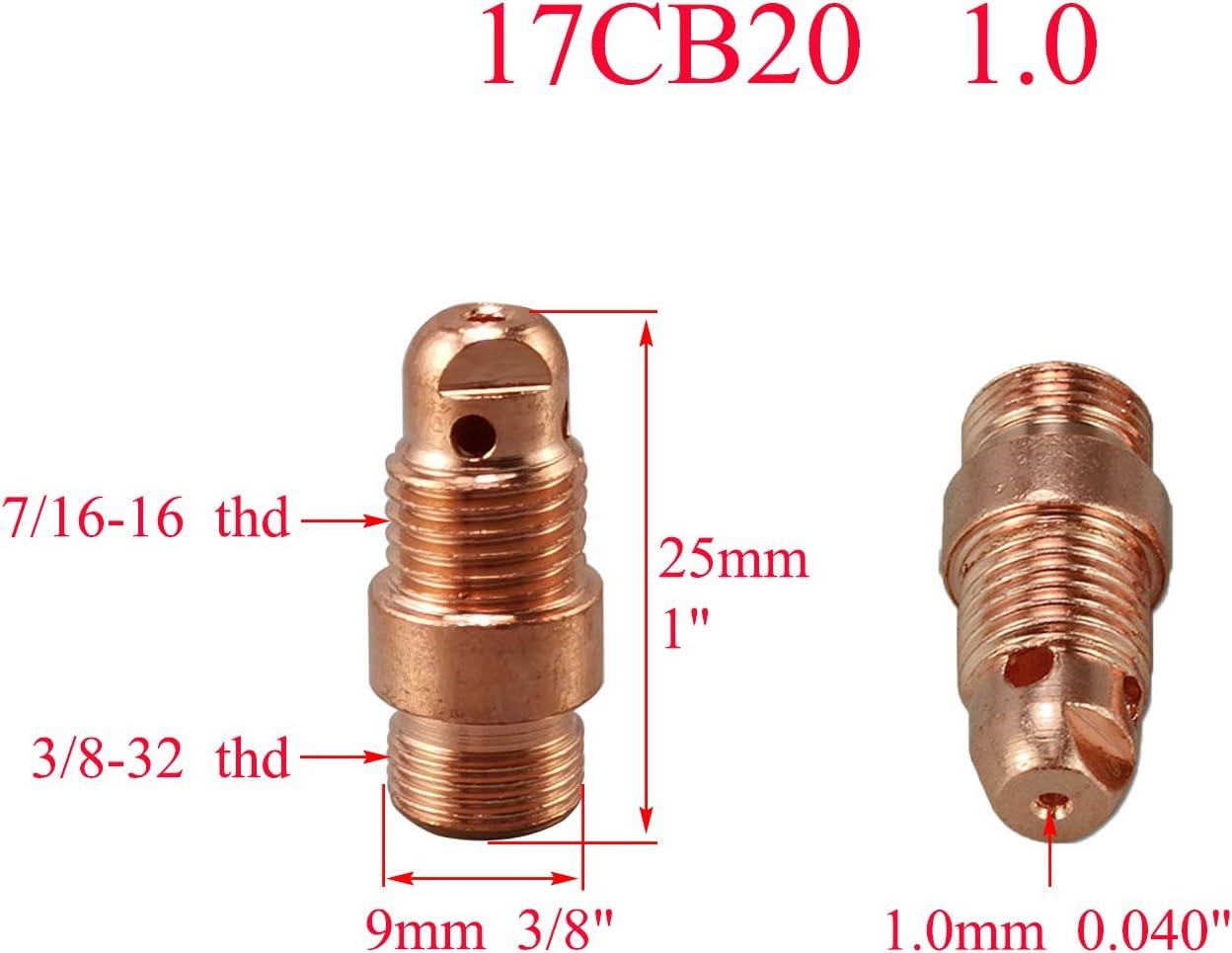 kesoto 2 Set Accesorios TIG Gas Lente Pinzas Al/úmin/α Boquillas Casquillo Trasero Kit Incluye Boquilla Gu/ía de Flujo Junta Aislante Collar Lentes de Gas