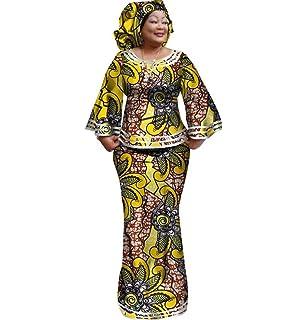 e8d5110007b8 Womens African Cotton Skirt Set Bell-Sleeve Tops & Skirt & Head Wrap ...