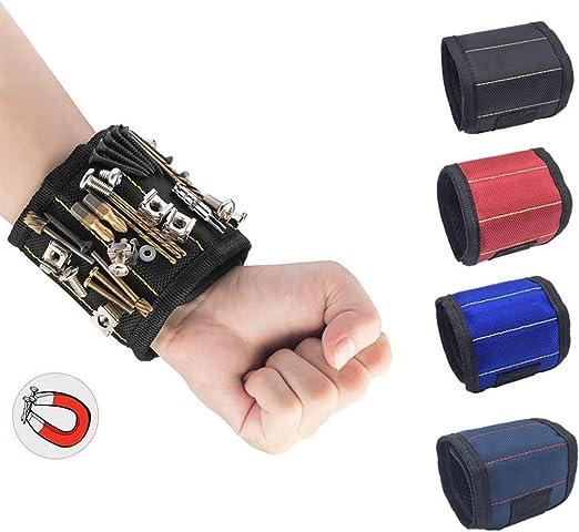 Tool Cadeau DIY Handyman Cadeau Fete des Pere Clous Boulons et Petites Pi/èces Bleu fonc/é Bracelet magn/étique R/églable avec des aimants forts pour Vis