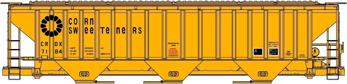 Accurail HO Scale Kit PS 4750 3-Bay Covered Hopper Corn Sweeteners//CRDX #7184