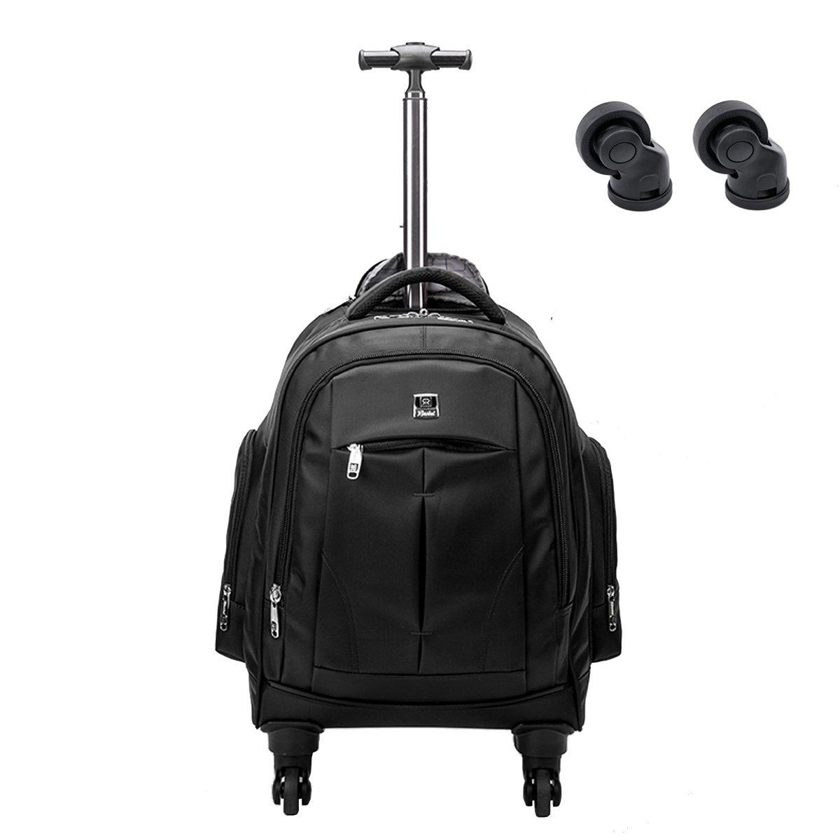 Racini Business Travel Nylon Waterproof Rolling Backpack, Freewheel Wheeled Backpack with Two Extra Wheels for Exchange (Black)