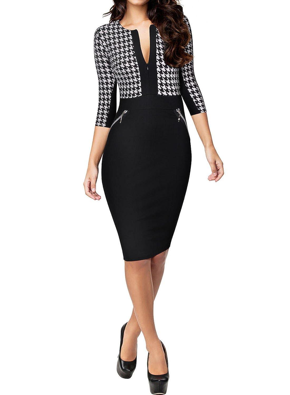 MIUSOL Damen Business Kleid Mit 3/4-Arm Hahnentritt Muster ...