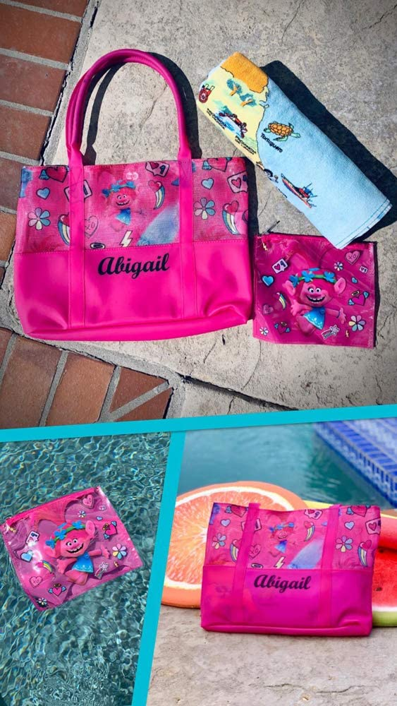 Personalized License Girl Tote Bag//Beach Bags with Bonus Wet Bag//Wallet Minnie Mouse