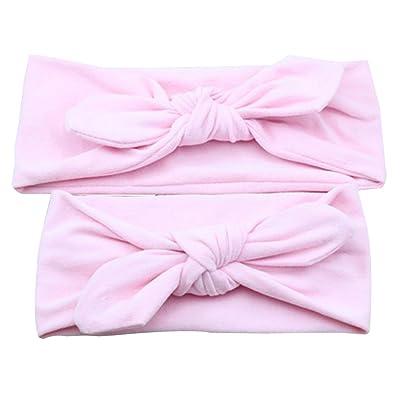 Tangbasi Mère et fille Bandeau de couleur unie Bandeau élastique avec nœud rose rose