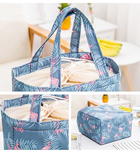 Lunchbox Oxford Insulated Bags Tin Soft Reusable Fish Bento Lunch Gourmet Insulation Drawstring Thermal Cooler with Bag Yellow Artone Blue Deep Leaves Tote 5vY8Ocqww