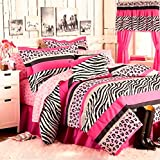 Teen Girls 12pc PINK & BLACK SAFARI JUNGLE QUEEN Zebra Leopard FULL SIZE Comforter(76'' x 86'') Shams Bedskirt & Sheet Set +TWO WINDOW VALANCES +TWO 4pc DRAPERY SETS! (12pc Full Size)