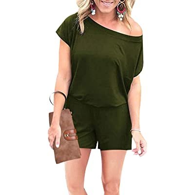 Adibosy Women's Summer One Shoulder Jumpsuit Rompers Outfits Casual Keyhole Back Short Sleeve with Pockets: Clothing