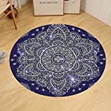 Gzhihine Custom round floor mat India Indian Floral Ornament Ethnic Spring Round Mandala Paisley Inspired Retro Bedroom Living Room Dorm Navy Blue and White