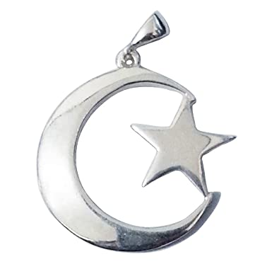 Amazon Large Sterling Silver Islamic Symbol Crescent Moon