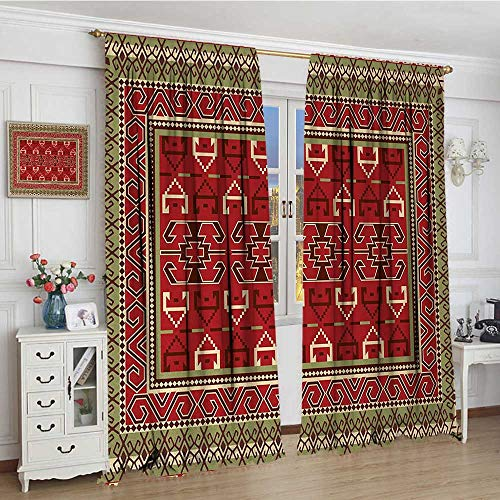 youpinnong Turkish Pattern Window Curtain Drape Rectangular Frames and Abstract Shapes with Ottoman Origins Decorative Curtains for Living Room 84