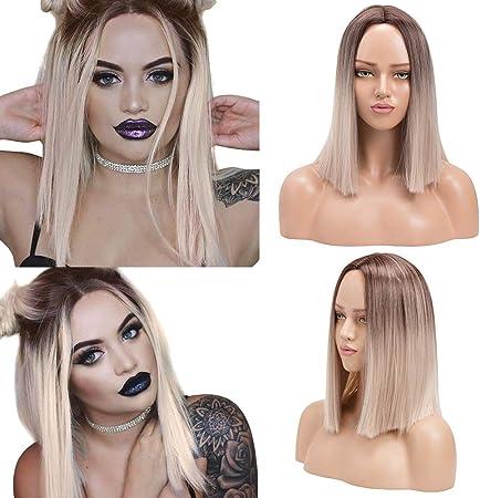 YMHPRIDE Ombre Blonde Peluca de Bob recta corta para mujer Moda Marrón oscuro Raíz Mixta Rubia Resistente al calor Peluca sintética larga recta de ...
