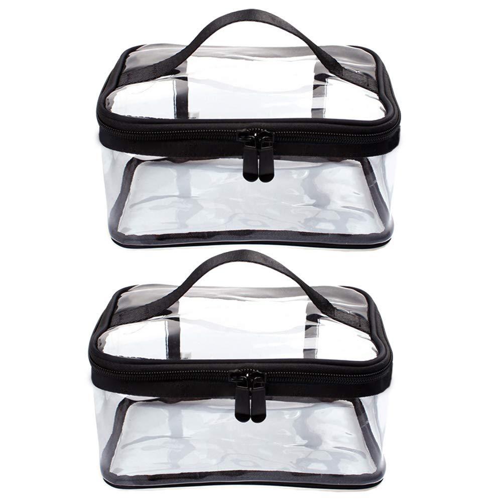2 Pcs Clear Makeup Bag Clear Toiletry Bag portable PVC Cosmetic Bag for Women Men, Waterproof PVC Pouch Case, Black Travel Accessories Organizer with Zipper