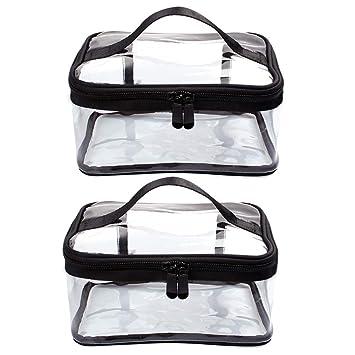 Amazon.com: 2 bolsas de maquillaje transparentes de PVC ...