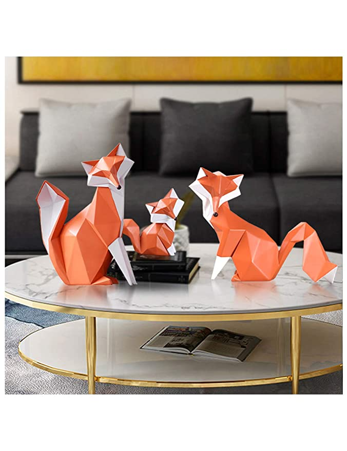 HomeBerry Fox Figurine Statue Sculpture Animal Home Decor Decoration Gift Arts Crafts Hand Painted Polyreisn 20cmL