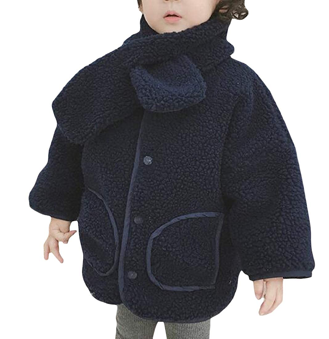 Easonp Boy and Girl Thick Fleece Lined Reversible Single-Breasted Parka Jacket Coat