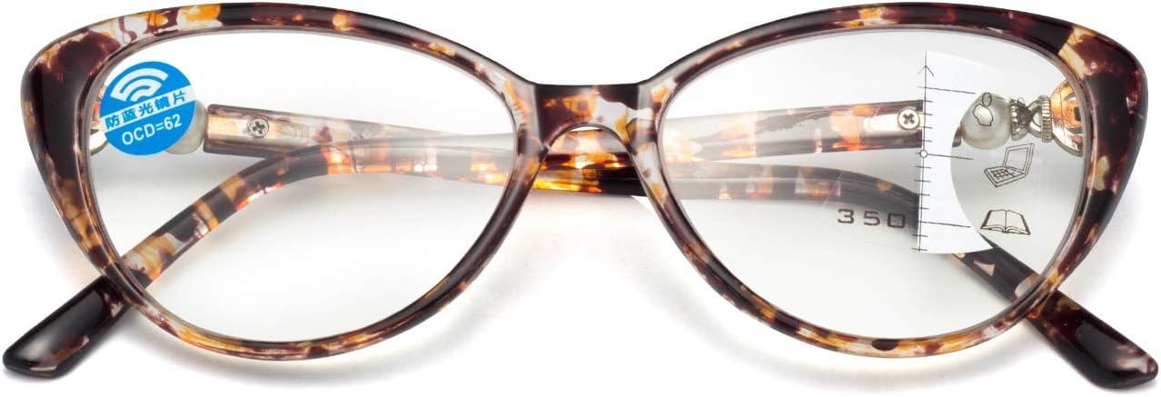 Classico occhio di gatto progressivo multifocus occhiali da lettura per donne con luce blu bloccante occhiali da computer con cornice in marmo lontano e vicino doppio uso occhiali alla moda