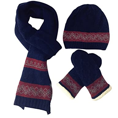 edfd5186f4546 SW-Ning Winter Men Hat Scarves Gloves Set Super Soft Artificial Wool Warm  Windproof Knitted Outdoor Clothing Accessories Kit (Navy Blue)  Amazon.co.uk   ...