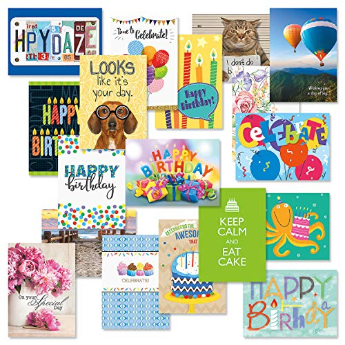 Mega Happy Birthday Greeting Card Value Pack - Set of 36 (18 Designs), Large 5 x 7 inches, Envelopes Included, by Current