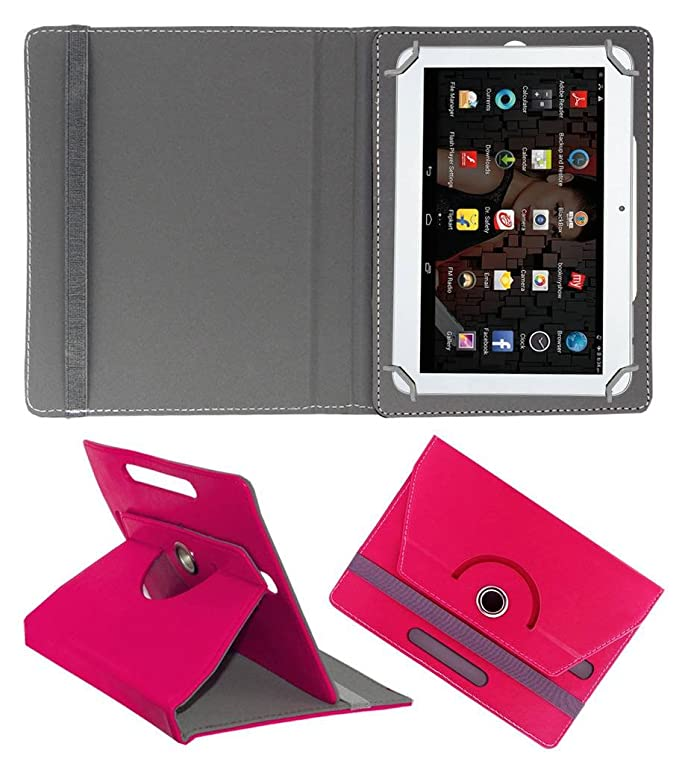 Acm Rotating Leather Flip Case for Iball Slide 3g 1026 Q18 Cover Stand Dark Pink Touch Screen Tablet Bags   Cases