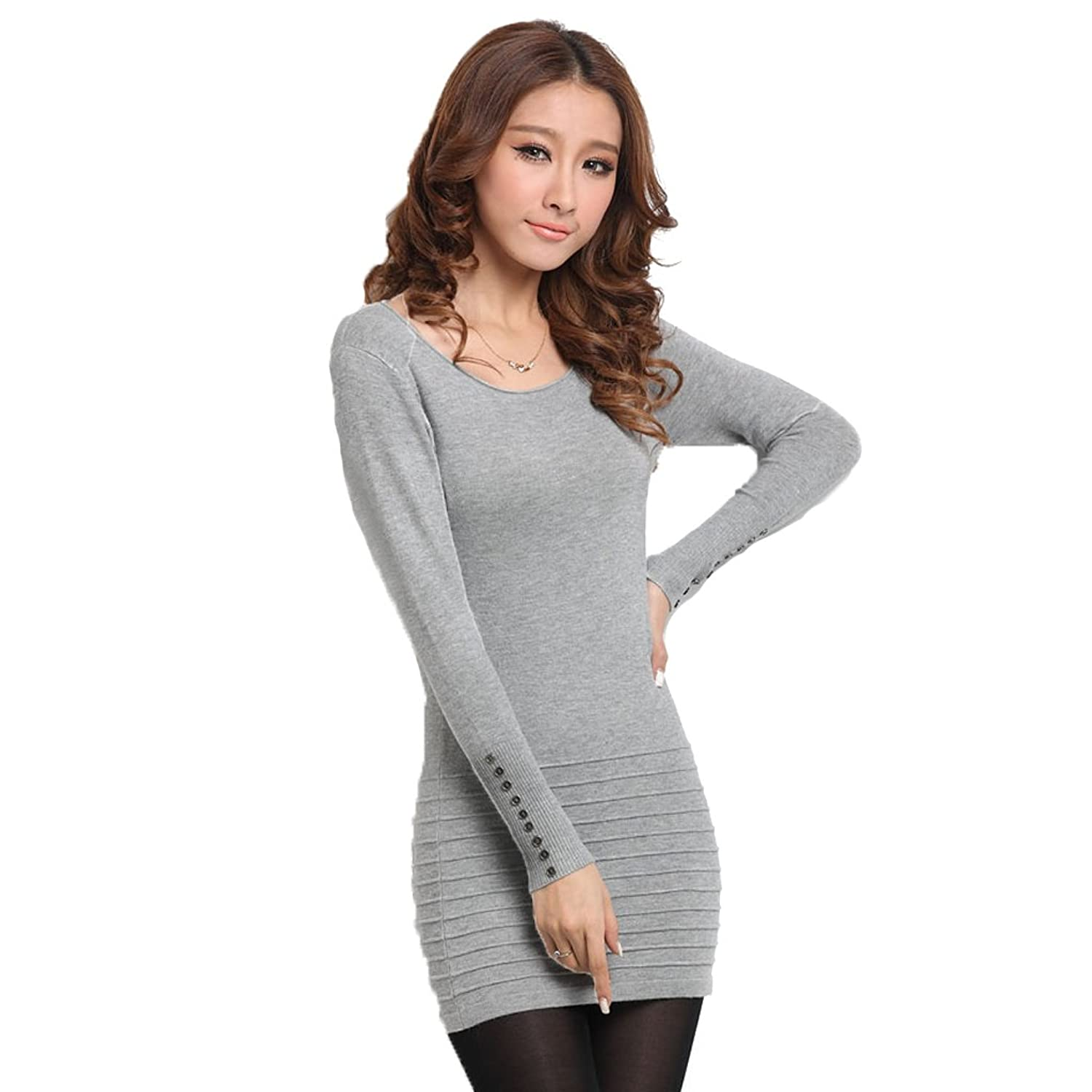 ITOPAI Women's Slim Round Neck Long Sleeve Pullover Sweater