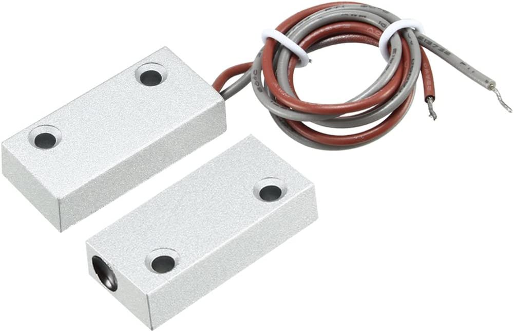 uxcell Rolling Door Contact Magnetic Reed Switch Alarm with 2 Wires for N.O. Applications MC-51