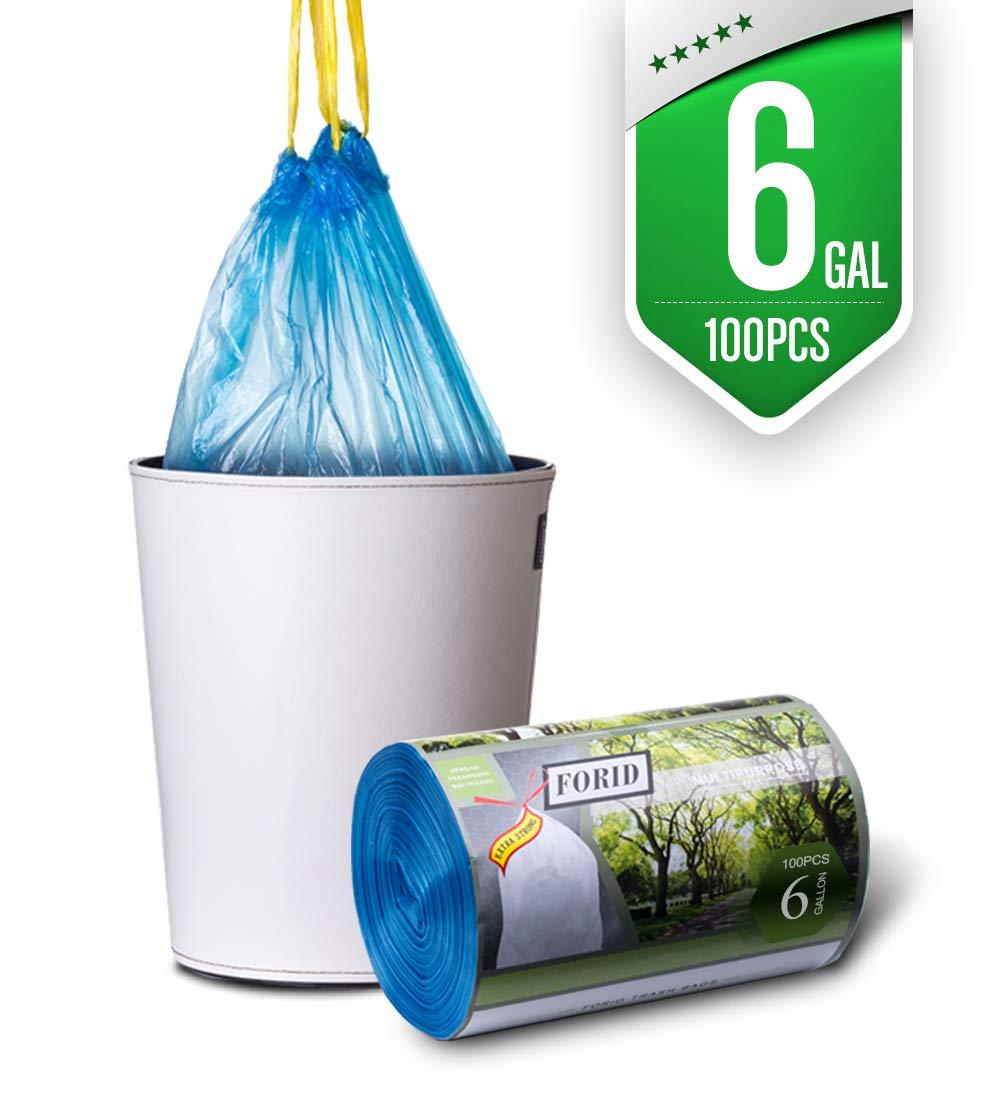 8ガロン ミディアムゴミ袋 FORID クイックタイ ゴミ袋 超強力ゴミ袋 引き紐付き 30リットル オフィス/キッチン/ベッドルーム用 8ガロンゴミ袋 100枚 B07GZJBKMW