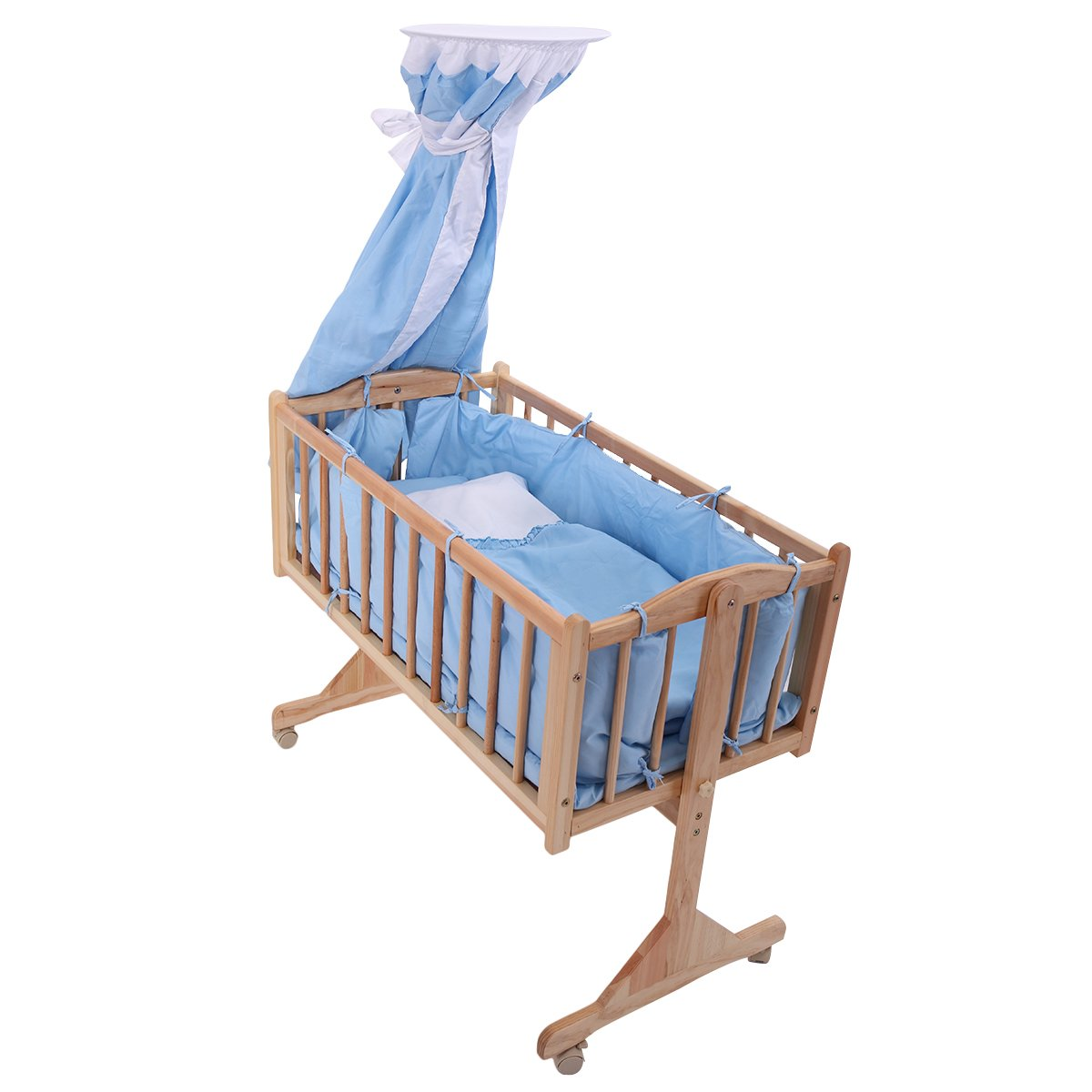 JAXPETY Wood Baby Cradle Rocking Crib Bassinet Bed Sleeper Portable Nursery Blue by JAXPETY (Image #5)
