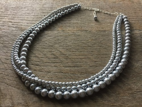 (Three Strand Pewter Drape Pearl Statement Necklace 21