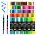 100 Unique Colors Dual Tip Brush Pens Non-Toxic Odorless Markers Set Fineliner Tip 0.4 with Fine Liners Tip and Brush Tip for Coloring Books, Drawing, Painting,Calligraphy Bullet Journal HO-100