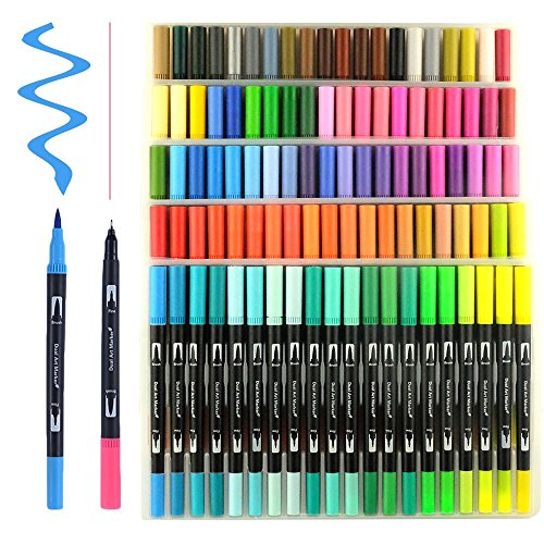 100 Unique Colors Dual Tip Brush Pens Non-Toxic Odorless Markers Set Fineliner Tip 0.4 with Fine Liners Tip and Brush Tip for Coloring Books, Drawing, Painting,Calligraphy Bullet Journal HO-100 by HOHUHU