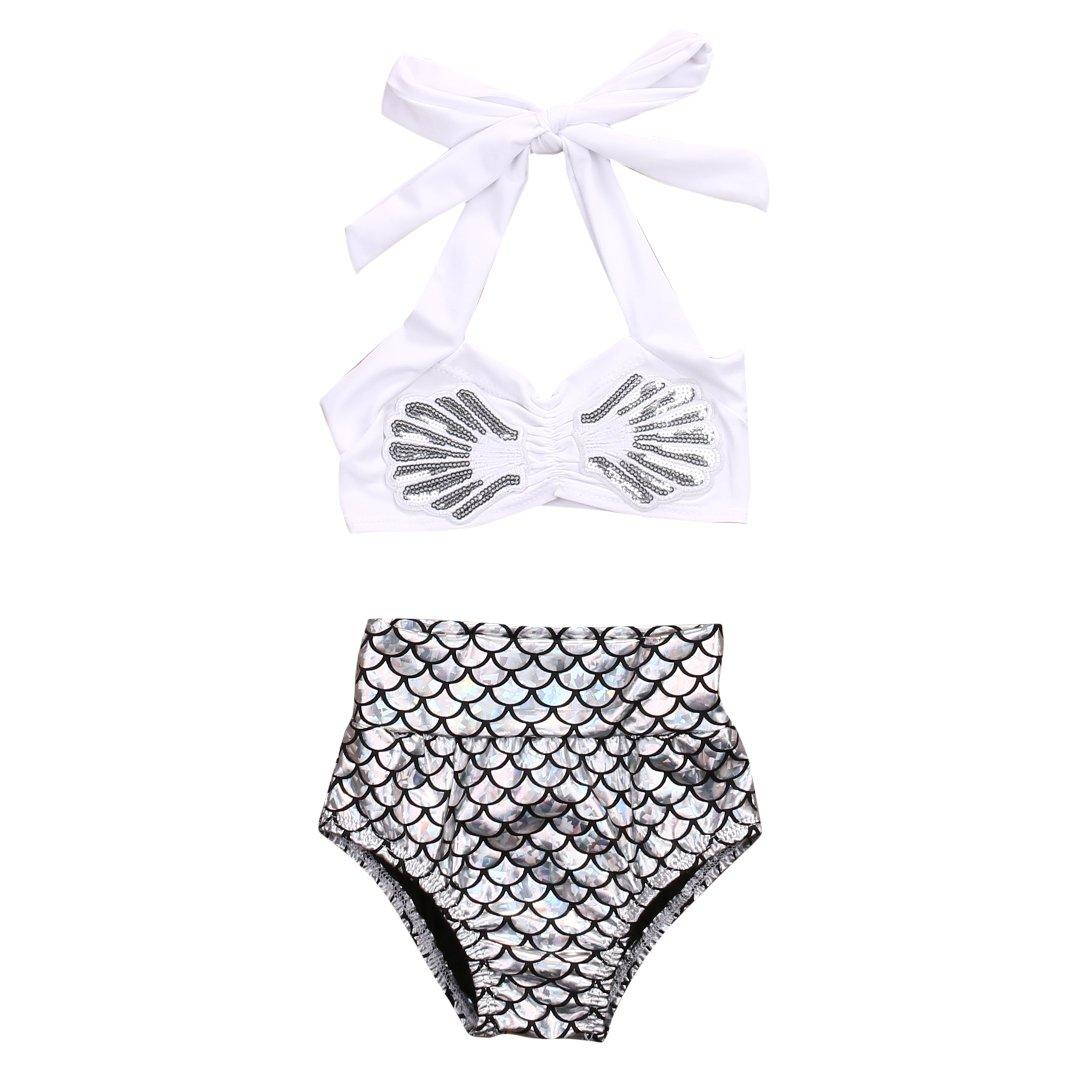 White, 6-7 Years Kids Baby Girls Bikini Suit Set Swimsuit Swimwear Bathing Swimming Clothes
