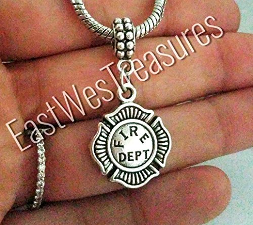 Fire Extinguisher Charm - EWT Firefighter Fireman Fire department Helmet Fire extinguisher Charm Pendant for all brand & European charm bracelet and any chain necklace