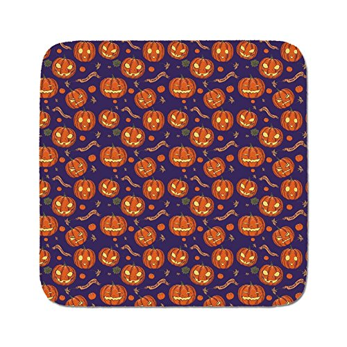 Cozy Seat Protector Pads Cushion Area Rug,Halloween,Pumpkins Pattern Different Face Expressions Happy Angry Scary Puzzled,Orange Indigo Yellow,Easy to Use on Any (Different Halloween Pumpkin Faces)