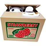 PERFECTTOY Automated Strawberry White Cat in Box Stealing Coin Bank Money Piggy Bank for Childrens